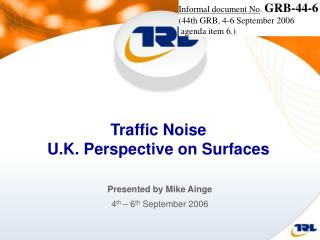 Traffic Noise  U.K. Perspective on Surfaces