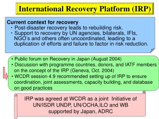 International Recovery Platform (IRP)