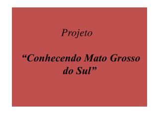 Projeto   �Conhecendo Mato Grosso do Sul�