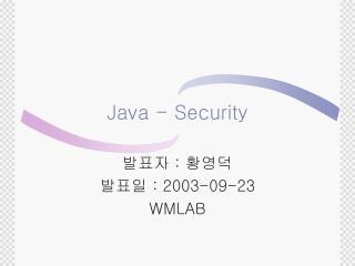 Java - Security