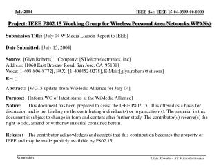 Project: IEEE P802.15 Working Group for Wireless Personal Area Networks WPANs)