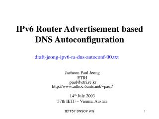 IPv6 Router Advertisement based DNS Autoconfiguration