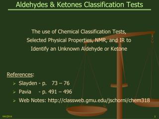 Aldehydes & Ketones Classification Tests