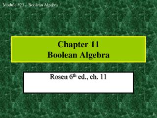 Chapter 11 Boolean Algebra