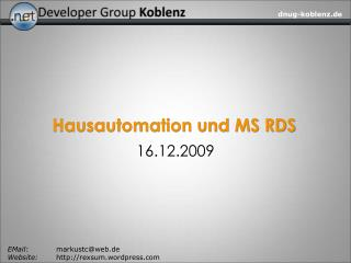 Hausautomation und MS RDS