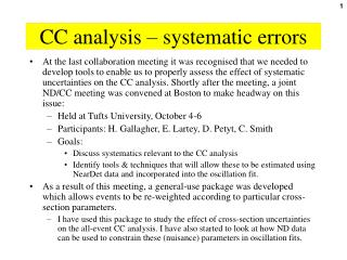 CC analysis – systematic errors
