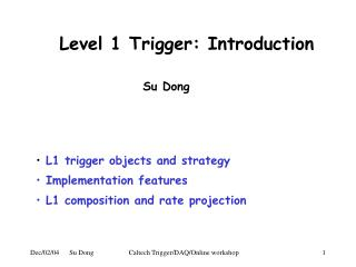 Level 1 Trigger: Introduction