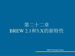 BREW TM Developer Training