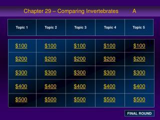Chapter 29 – Comparing Invertebrates         A