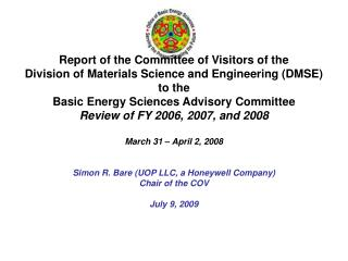 Report of the Committee of Visitors of the Division of Materials Science and Engineering (DMSE)