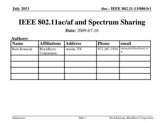 IEEE 802.11ac/af and Spectrum Sharing