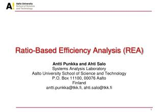 Ratio-Based Efficiency Analysis (REA)