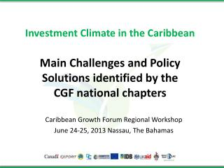 Investment Climate in the Caribbean