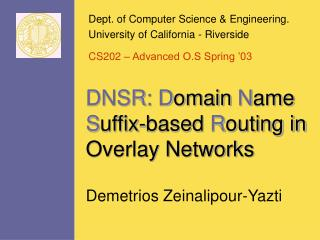 DNSR: D omain  N ame  S uffix-based  R outing in Overlay Networks
