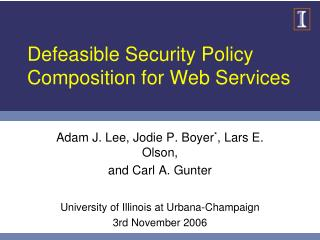 Defeasible Security Policy Composition for Web Services