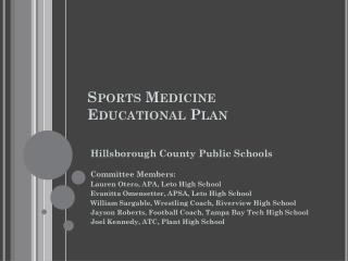 Sports Medicine Educational Plan