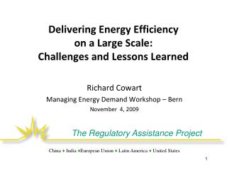 Delivering Energy Efficiency  on a Large Scale:   Challenges and Lessons Learned