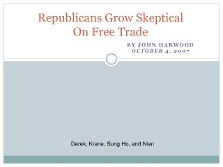 Republicans Grow Skeptical On Free Trade