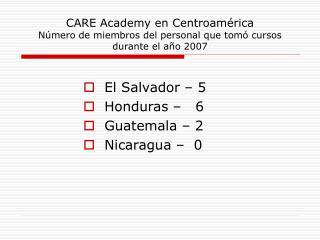 CARE Academy en Centroamérica Número de miembros del personal que tomó cursos durante el año 2007