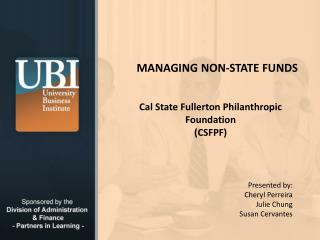 MANAGING NON-STATE FUNDS