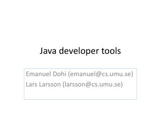 Java developer tools