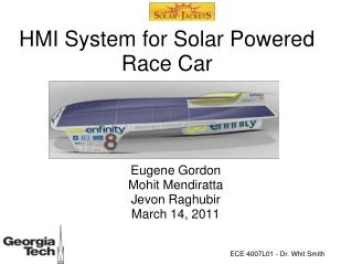 HMI System for Solar Powered Race Car