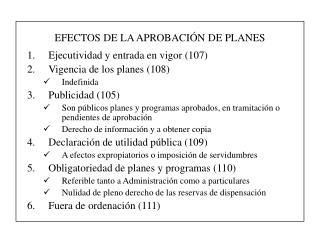 EFECTOS DE LA APROBACIÓN DE PLANES