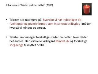 Johannesen: 'Døden på Internettet' (2008)