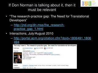 If Don Norman is talking about it, then it must be relevant