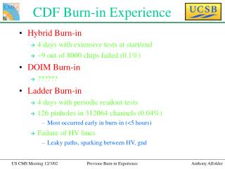 CDF Burn-in Experience
