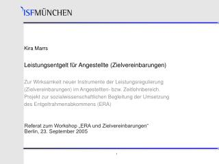 "Referat zum Workshop ""ERA und Zielvereinbarungen"" Berlin, 23. September 2005"
