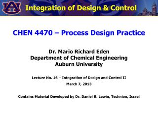 Integration of Design & Control