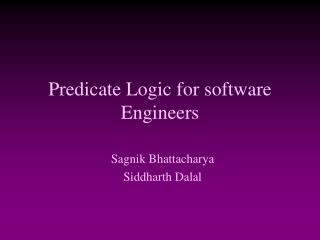 Predicate Logic for software Engineers