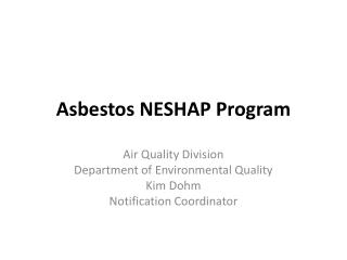 Asbestos NESHAP Program