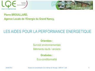 LES AIDES POUR LA PERFORMANCE ENERGETIQUE