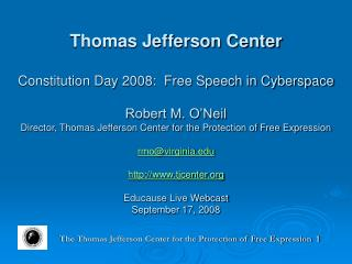 The Thomas Jefferson Center for the Protection of Free Expression  1