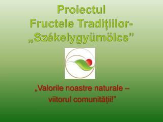 """P roiectul  Fructele  Tradițiilor- """" Sz ékelygyümölcs """""""