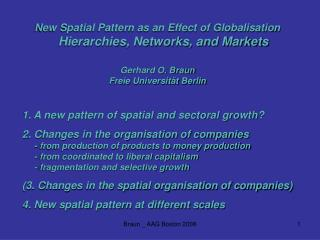 New Spatial Pattern as an Effect of Globalisation Hierarchies, Networks, and Markets