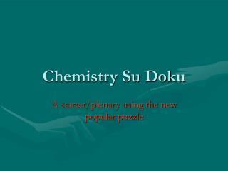 Chemistry Su Doku
