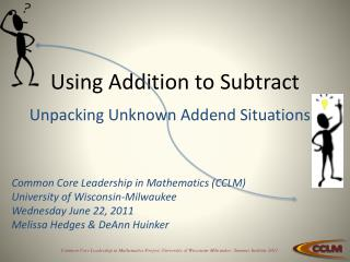 Using Addition to Subtract