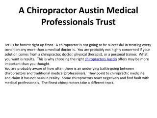 A Chiropractor Austin Medical Professionals Trust