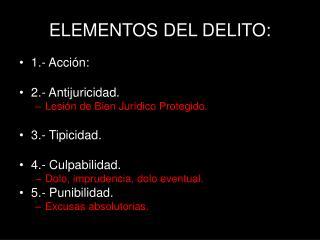 ELEMENTOS DEL DELITO: