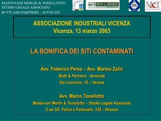 ASSOCIAZIONE INDUSTRIALI VICENZA Vicenza, 13 marzo 2003