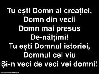 Tu esti Domn al creatiei