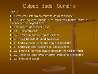 Culpabilidade - Sum�rio