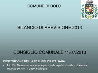 BILANCIO DI PREVISIONE 2013