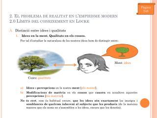 2. El problema de realitat en l'empirisme modern 2.0 Límits del coneixement en Locke