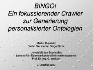 BINGO! Ein fokussierender Crawler zur Generierung personalisierter Ontologien