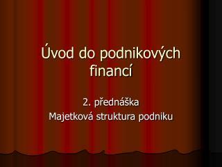 Úvod do podnikových financí