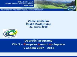 RNDr. Jiří Horáček Ředitel odboru  evropské územní  spolupráce